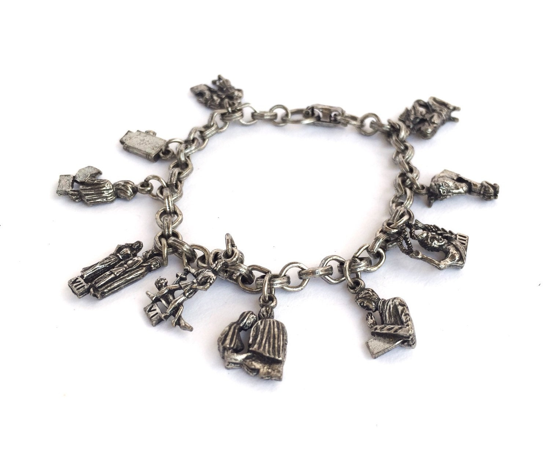 vintage 10 commandments silver charm bracelet by coro