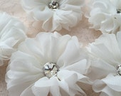Ivory Chiffon Flowers With Rhinestone 2.55 Inches Wide For Costume Headware Corsage Supplies 2pcs
