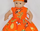 Handmade Orange Monkey Animal Print Dress and Orange Crocheted Hat and Flower Fits American Girl Bitty Baby and Twins
