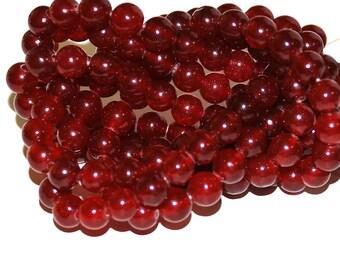 Half Strand 6mm Garnet Red Agate Gemstone Beads - 31 beads