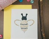 Hand Painted Gold Bee Card - Blank Card - All Occasion Card - Gold and Black - Birthday Card - Card for Her - Bumble Bee Card - Thank You