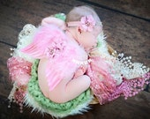 Newborn Angel Wings Baby Angel Wings and Headband Set Newborn Photo Prop Baby Girl Photo Props - Celeste Wings and Head Band Set