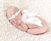 Newborn Angel Wings READY TO SHIP Baby Angel Wings Headband Set Newborn Girl, Newborn Boy - Belle Wings and Pearl Bow Head Band Set