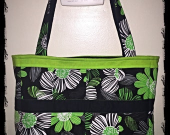 Black and Green Floral Tote Bag/ Purse