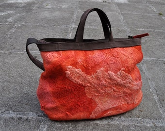 Nuno felt bag, collar, fibre art, gift, orange, brown, leather
