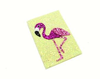 Flamingo Print Passport Holder Cover Pink Glitter Fabric Wallet