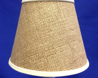 Burlap Looking Fabric Chandelier Shade Battery Operated Electric Candle