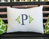 Monogrammed Outdoor Rectangle Pillow Cover in Natural White | Personalized | Alphabet | Embroidered | Indoor | Initial | Wedding
