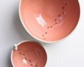 ceramic bowl, TWEET BOWL, modern whimsical pottery bowls, coral, salmon, peach, quirky ceramic bird bowl, nesting bowls