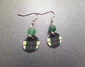Scottish Tartan Earrings, Lightweight Earrings, Green Plastic Earrings, Clan Jewelry, Highland Dance Jewelry, Plaid Earrings,