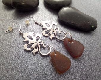 Scottish Jewelry Sea Glass Earrings Brown Silver Leaf Motif Long Dangle Earrings