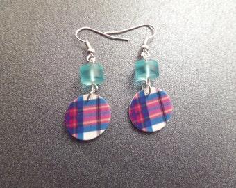 Highland Dance Jewelry, Scottish Tartan Earrings, Scottish Jewelry, Plastic Earrings, Pink and Turquoise Earrings, Allendale Clan, Plaid