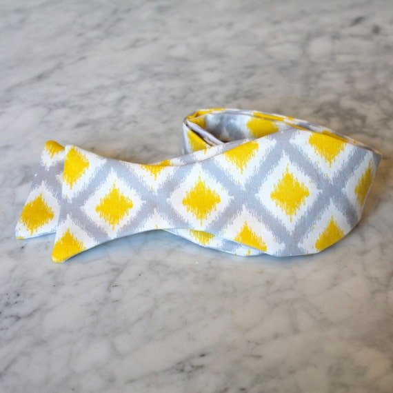 Bow Tie in Yellow and White Diamond Ikat - Groomsmen and wedding tie - clip on, pre-tied with strap or self tying
