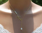 Customized Bridal Necklace, Leaf Branch Necklace, Pearl Necklace, Custom Necklace, Unique Necklace, Vermeil Artisan Leaf and Gold Fill