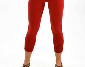 Recycled Hot Yoga Pants - Small - Adobe Red - Women's Ruched Capri - Recycled Fabric - Short Leggings