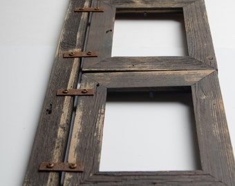 5 hole 4x6 multi opening collage barnwood frame rustic picture frame reclaimed landscape or portrait collage frame