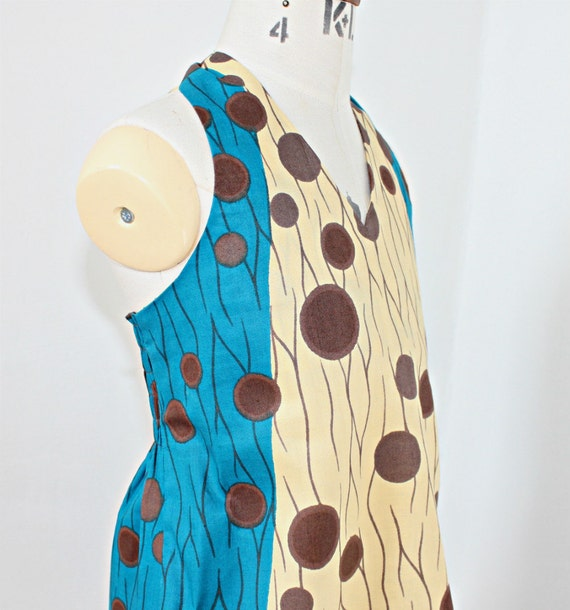 Beautiful turquoise cream and brown African Print  dress