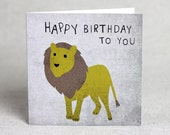 Lion Happy Birthday To You card