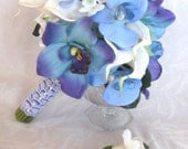 Reserved Blue orchid white calla lily bridal bouquet and boutonniere set