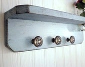 Wood Shelf with Fruit Jar and 3 antique rope pewter knobs, House Blue