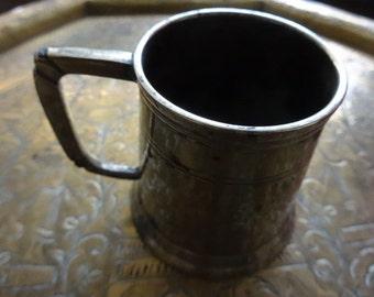 Vintage English brass small tankard goblet beaker mug circa 1950's / English Shop