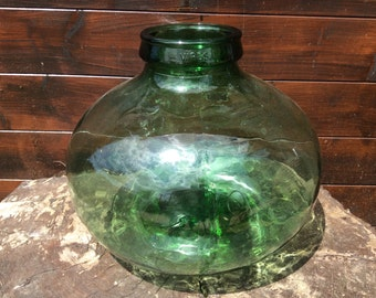 Vintage French Viresa Green Large Wide Hand Blown Bubble Glass Vase Terranium circa 1960-70's / English Shop