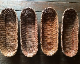 Vintage French wicker ware baguette bread pain table basket boulangerie sold separately circa 1960-70s / English Shop