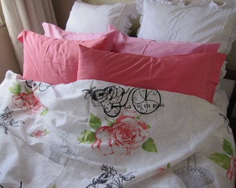 Shabby chic bedding king 120x120 120x98 pallatial queen duvet cover red rose floral old bicycle print duvet cover Twin XL Nurdanceyiz Turkey