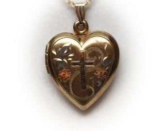 Multi Colored Gold Filled Heart Locket Pendant