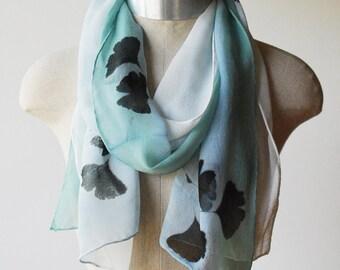 Summer scarf,  Silk chiffon scarf, pastel blue, ginko leaf print