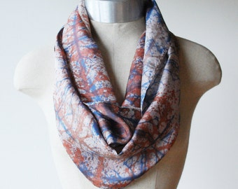 hand painted silk scarf, screen printed scarf, navy and rust plaid print