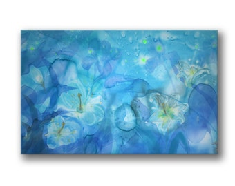 Blue landscape, giclee print, print on canvas, painted flowers, relax, bedroom, wallhanging, fantasy, azure, sky-blue, madonna lilly, iris
