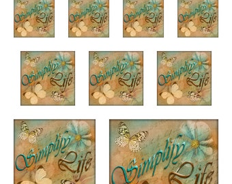 Butterflies Flowers Sampler Sheet of Sizes 1,1.5,2,3 and 4 Inch Squares Instant Download Digital JPEG Images (15-2)