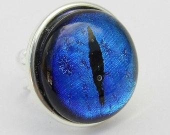 Blue dichroic glass Dragon eye ring