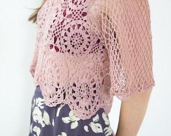 Vintage Mauve Crochet Crop Top