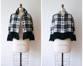 Plaid Wool Cape Coat / Vintage 70s Fringed Cropped Poncho / Mod Black and White