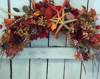 Fall Beach Wall Spray-Fall Beachy Swag-Autumn Beach Wedding-Fall Swag-Beachy Swag-Thanksgiving Decoration-Fall Decoration-Annie Gray Design