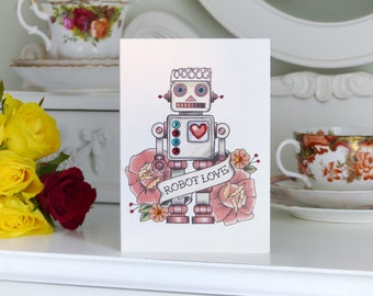 Vintage Robot Love Tattoo Valentine's Day Handmade Card