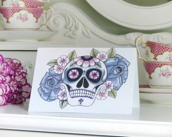 Purple Rose and Blossom Sugar Skull Day of the Dead Tattoo Handmade birthday Card