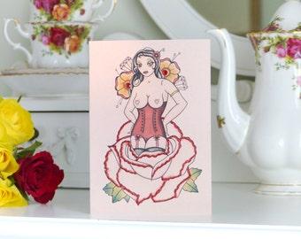 Rose Pin Up Girl Tattoo Alternative Valentines Card