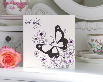 """Butterfly and Blossom """"Love bug"""" tattoo Outline Handmade Anniversary Card"""
