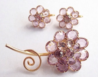 Vintage Glass Lilac Flower Brooch and Earring Set Gold Tone