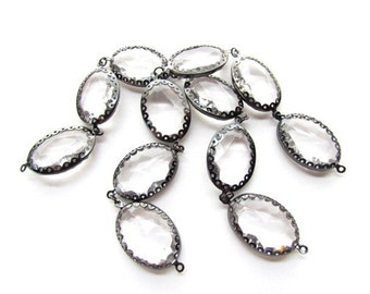 Large Gunmetal Rimmed Acrylic Connector Beads / Faceted