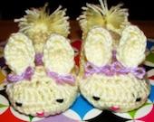 Toddler Bunny Crochet Slippers Size 4