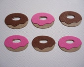 12 Mini Donut Embellishment Die Cuts Choose Chocolate or Strawberry Donuts Scrapbooking Assembled Paper Donuts