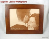 Photo Engraved in REAL LEATHER - Third Anniversary, Wedding,  3rd Anniversary Family Photos in Leather Anniversary Gift Third Anniversary