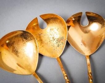Set of 3 vintage metal salad spoons, floral decor