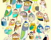 Nursery art baby nursery decor nursery print Kids art illustration print gift ideas - 'Owl Gathering'.