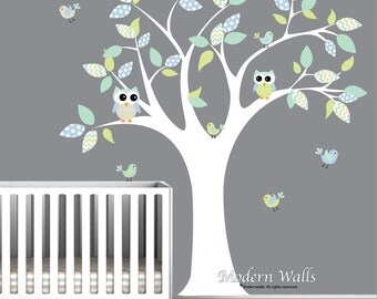 Children Owl Wall Decals,Nursery Decal, nursery tree with owls and birds-e71
