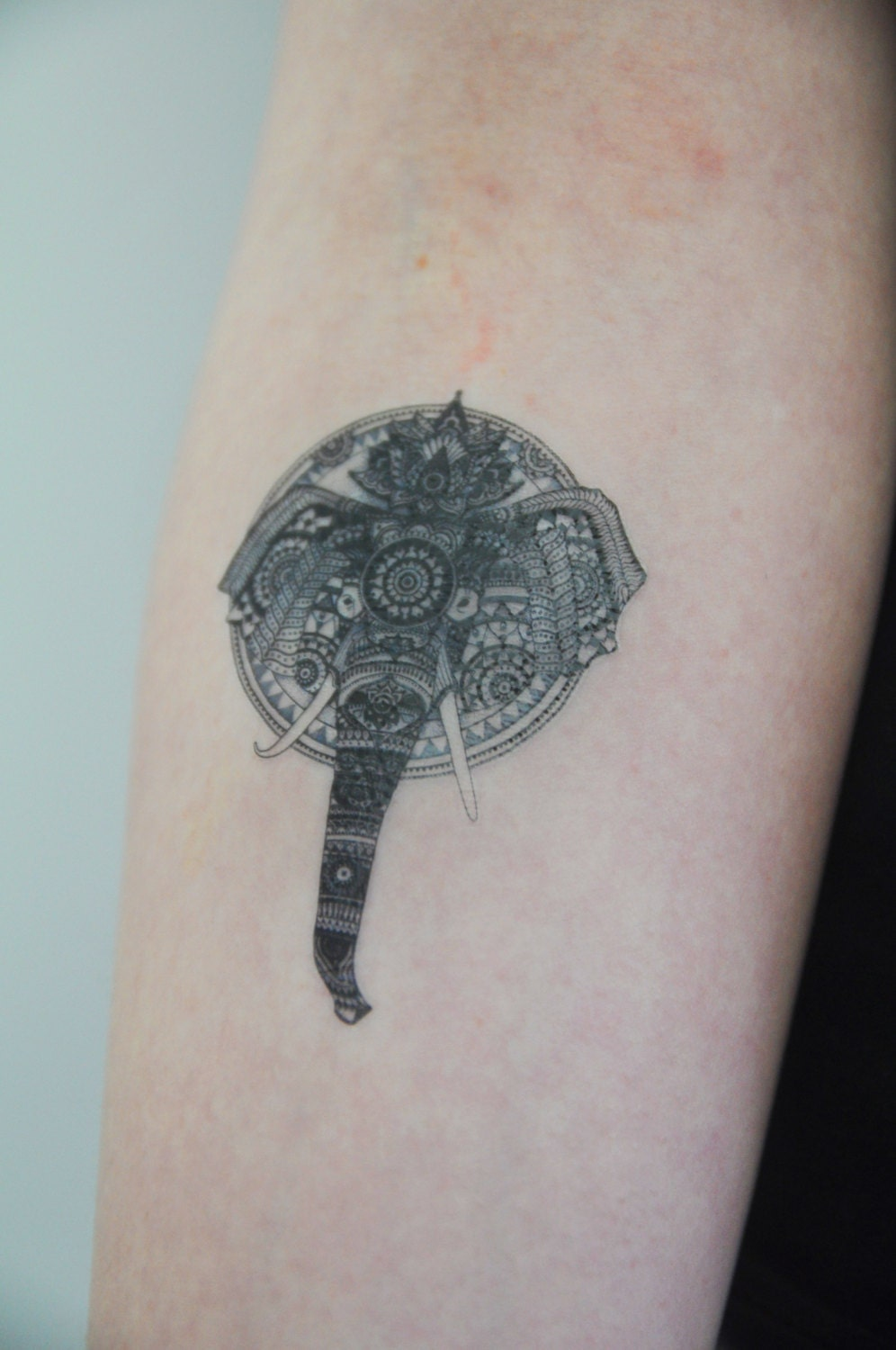 Elephant temporary tattoo elephant illustration large for Temporary elephant tattoo